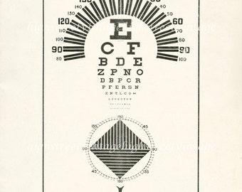 Eye Chart Poster Art Orthops Eye Chart  Illustration Vintage Scientific Art Print 8x10