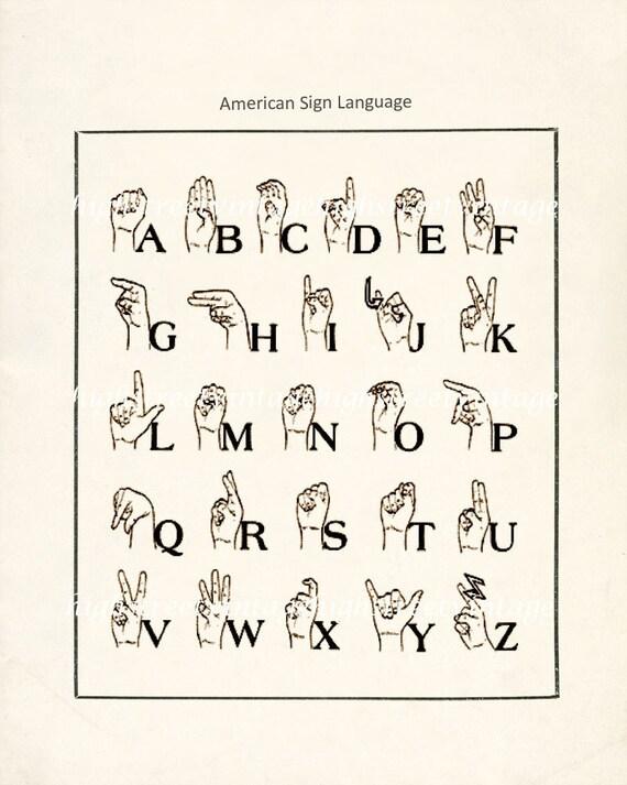 Poster - American Sign Language Illustration Wall Decor Print 8x10