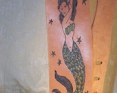 Sexy Mermaid etched on Leather Guitar Strap Old School Tattoo Flash