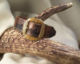 Plaid Tartan Leather belt bracelet with Unique Vintage Buckle