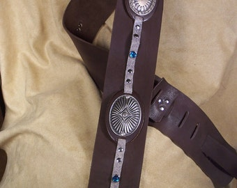 Leather Guitar Strap Dark Chocolate Brown w Conchos