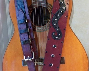 Burgandy  Leather Guitar Strap with Black Snake and rhinestones ooak