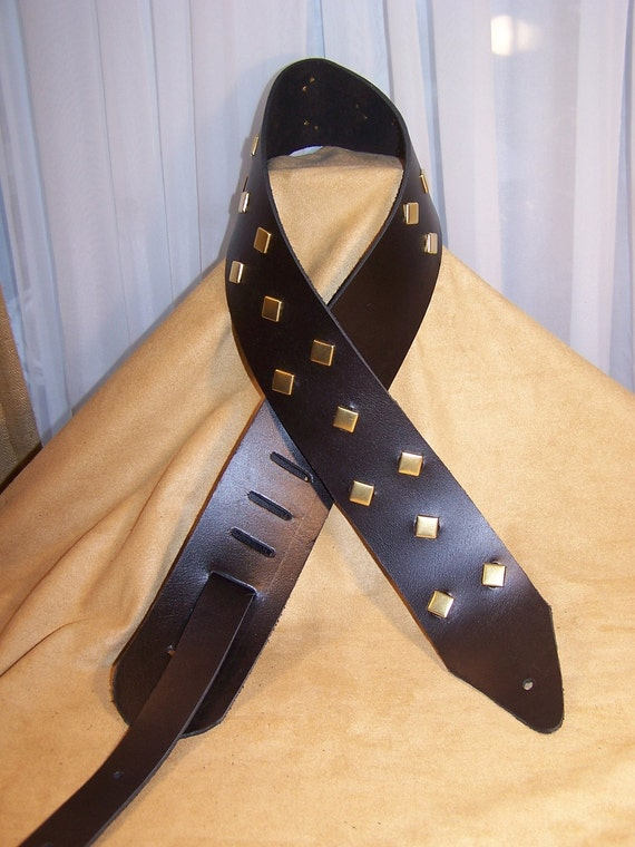 Black Leather Guitar Strap with golden diamond studs