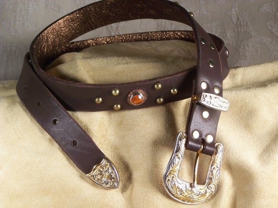 Fancy Cowgirl Chocolate Brown Leather Belt