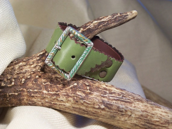 Olive Green Leather belt bracelett with Unique Vintage Buckle