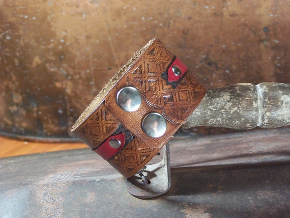 Mens Brown and Red Leather Cuff Men's medium size