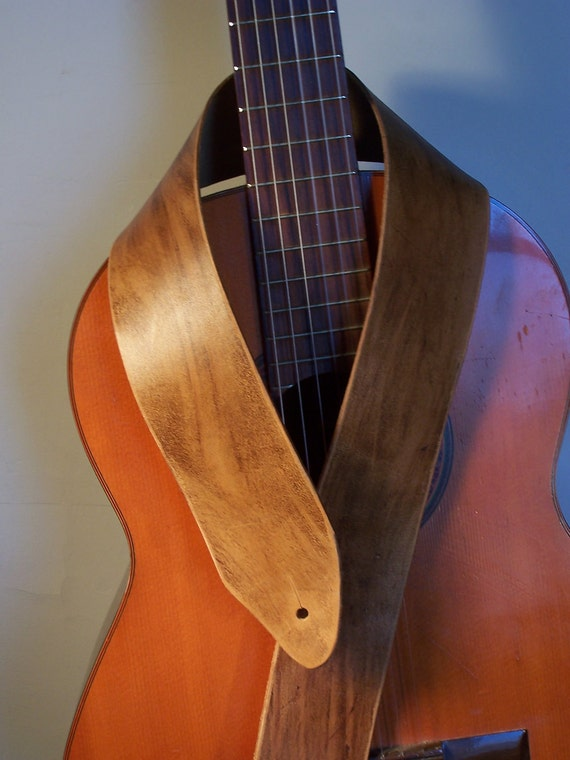 Saddle Brown Leather Guitar Strap Distressed Finish