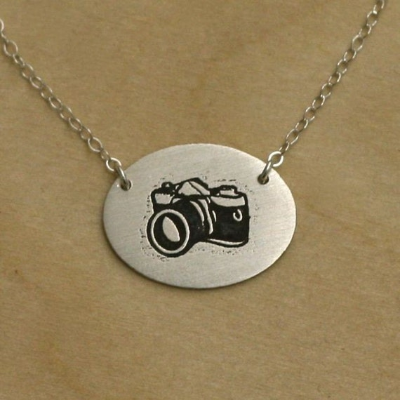 Camera Necklace. Etched in Sterling Silver.