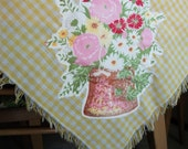 Vintage Tablecloth With Handmade Appliques - Rise And Sunshine