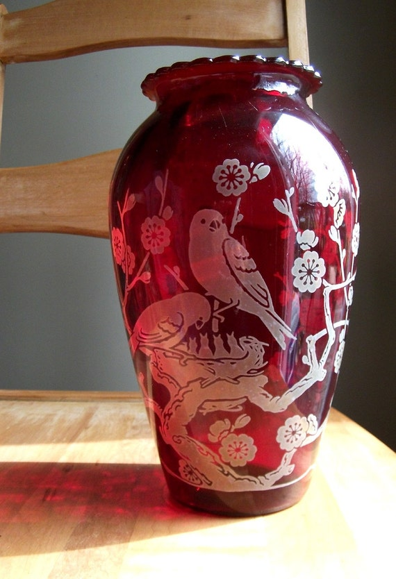 The Early Bird - Vintage Ruby Glass Vase