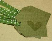 Polk a Dot Ribbon Heart Tag