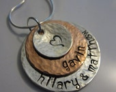 Layered Look Hand Stamped, Personalized Necklace in Sterling Silver and Copper