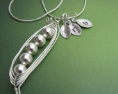 Petite Sweet Peas in a Pod Necklaces  (2, 3, 4, 5, 6, 7 peas)