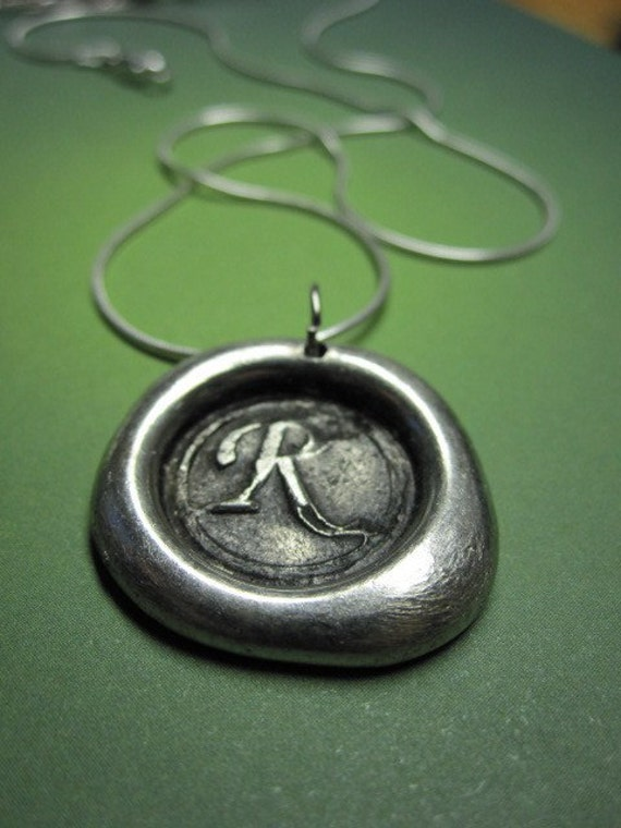 Timeless Necklace  Hand Stamped Wax Seal Pendant You choose your letter A B C D E F G H I J K L M N O P Q R S T U V W X Y Z