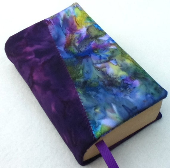 NEW Cloth Book Cover, Two Tone Cover, Blue and green marbled batik and Purple Marbled Batik, Fits Most Mass Market Paperback Books