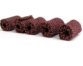 Artisan  fiber beads in Burgundy dotted  printed cotton