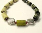 Olive green asymmetrical wearable art  fiber necklace