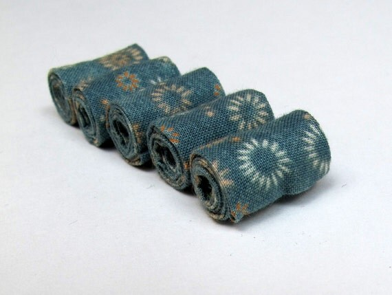 Hand rolled fiber beads in floral Aqua  printed cotton