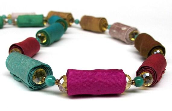 Colorful Silk Flow in a unique fiber necklace
