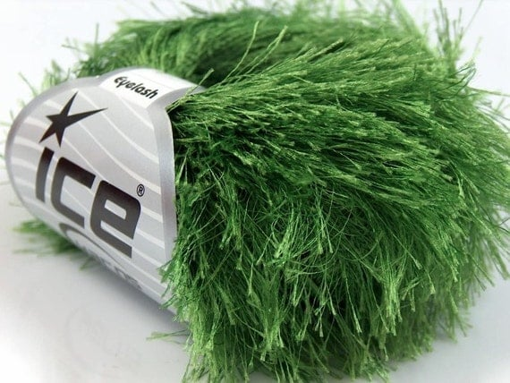 Eyelash Yarn : Grass Green Long Eyelash Yarn Ice Fun Fur 22787 by brokemarys