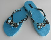Boutique Style Blue Flip Flops -  Blue and Brown Polka Dot Bow with Rhinestone Buckle