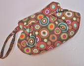 Wristlet Clutch Bag Handmade Organic Cotton  Sateen