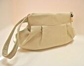 OrganicWristlet Clutch Bag Handmade Cream Linen
