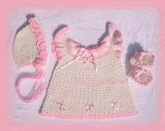 AMAZINGCROCHET Pink Ruffle Sundress 4-pc Outfit crochet pattern