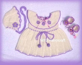 AMAZINGCROCHET Purple Trim Sundress 4-pc Outfit crochet pattern