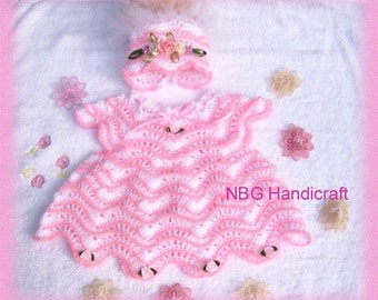 AMAZINGCROCHET Ripple Dress Bonnet 2-pc Outfit crochet pattern
