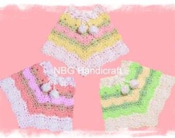 AMAZINGCROCHET 4 Color Poncho Size 6 mo through Adult crochet pattern