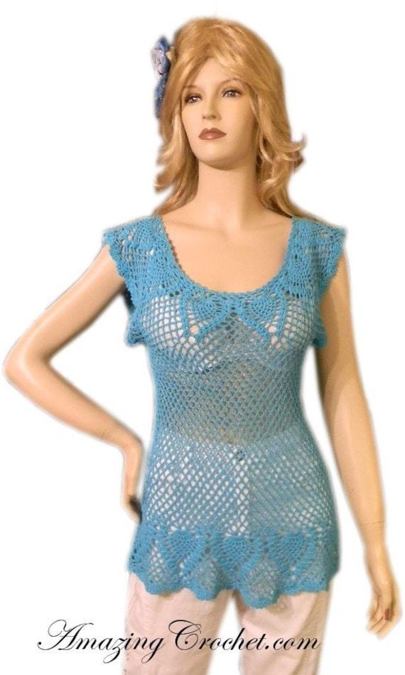 EASY WEEKEND Project Aqua Pineapple Top Crochet pattern by AmazingCrochet