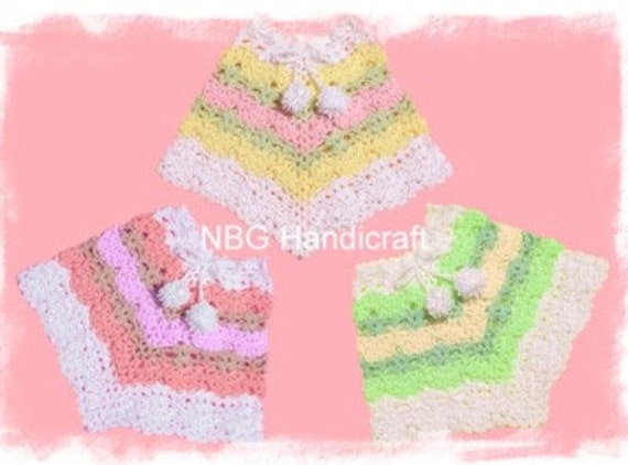 AMAZINGCROCHET 4 Color Poncho Size 6 mo through Adult crochet pattern