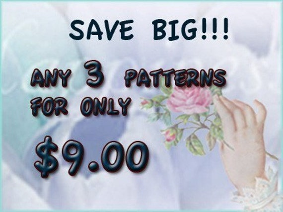 AMAZINGCROCHET any 3 crochet patterns for 9 dollars