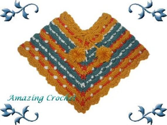 AMAZINGCROCHET Fun Fan Poncho Size 6 mo through Adult crochet pattern