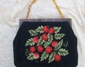 Vintage Cherry Needlepoint Handbag Black