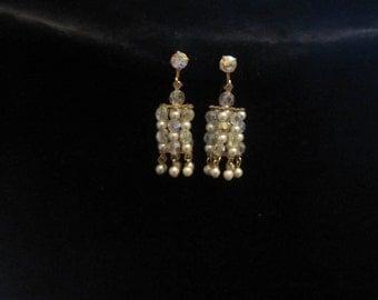 Vintage Pearl and Rhinestone Earrings AB