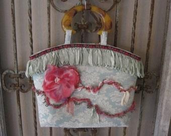 Vintage Brocade and Rose Handbag - Aqua - Pink