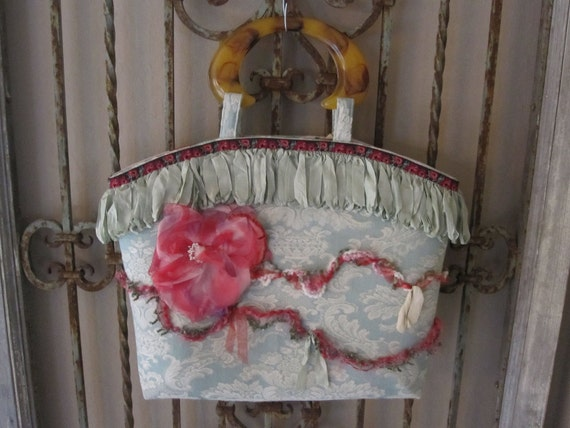 Vintage Brocade and Rose Handbag - Aqua - Pink
