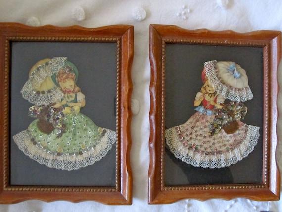 Vintage Lace Girl Framed Pictures