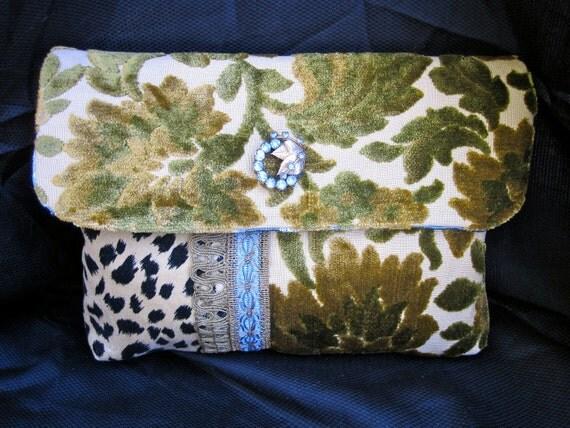 Clutch ...Vintage Velvet Chenille and Leopard