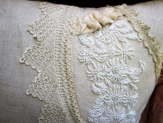 Beaded Linen Pillow - Shabby Chic Style Decor - Vintage Fabric Textiles - Cream Off White Ivory Beige - Lace Pearls Velvet