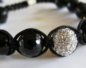 Faceted Onyx & Crystal Macrame Bracelet