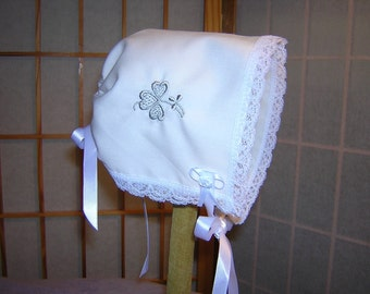 Irish Baby Bonnet/ Brides Wedding Handkerchief Keepsake (Shamrock)