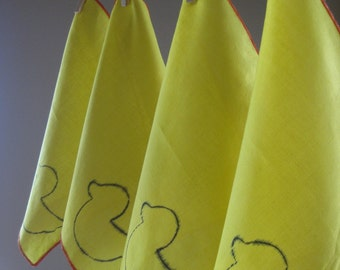 Cloth Napkins - Duck Yellow - Cocktail - 10 Inch Cotton (25.4 cm)