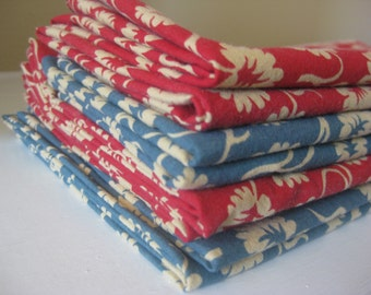 Cloth Napkins -  Americana Red and Blue- 100% Cotton Napkins