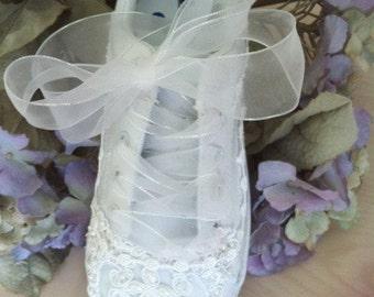 White Beaded Platform Bridal Sneakers