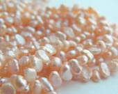 Dainty Pale Peach Heshi Pearls - 3mm x 5mm - Sweet and Delicate