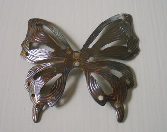 Vintage Metal Butterfly Pendant Large Textured Oxidized Metal Butterfly Finding