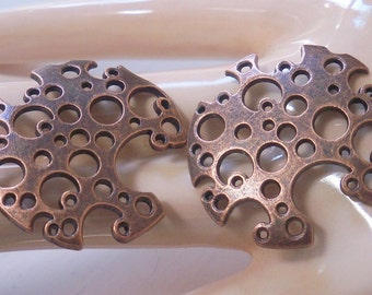 Unusual Freeform Antiqued Copper Findings - Moon Craters